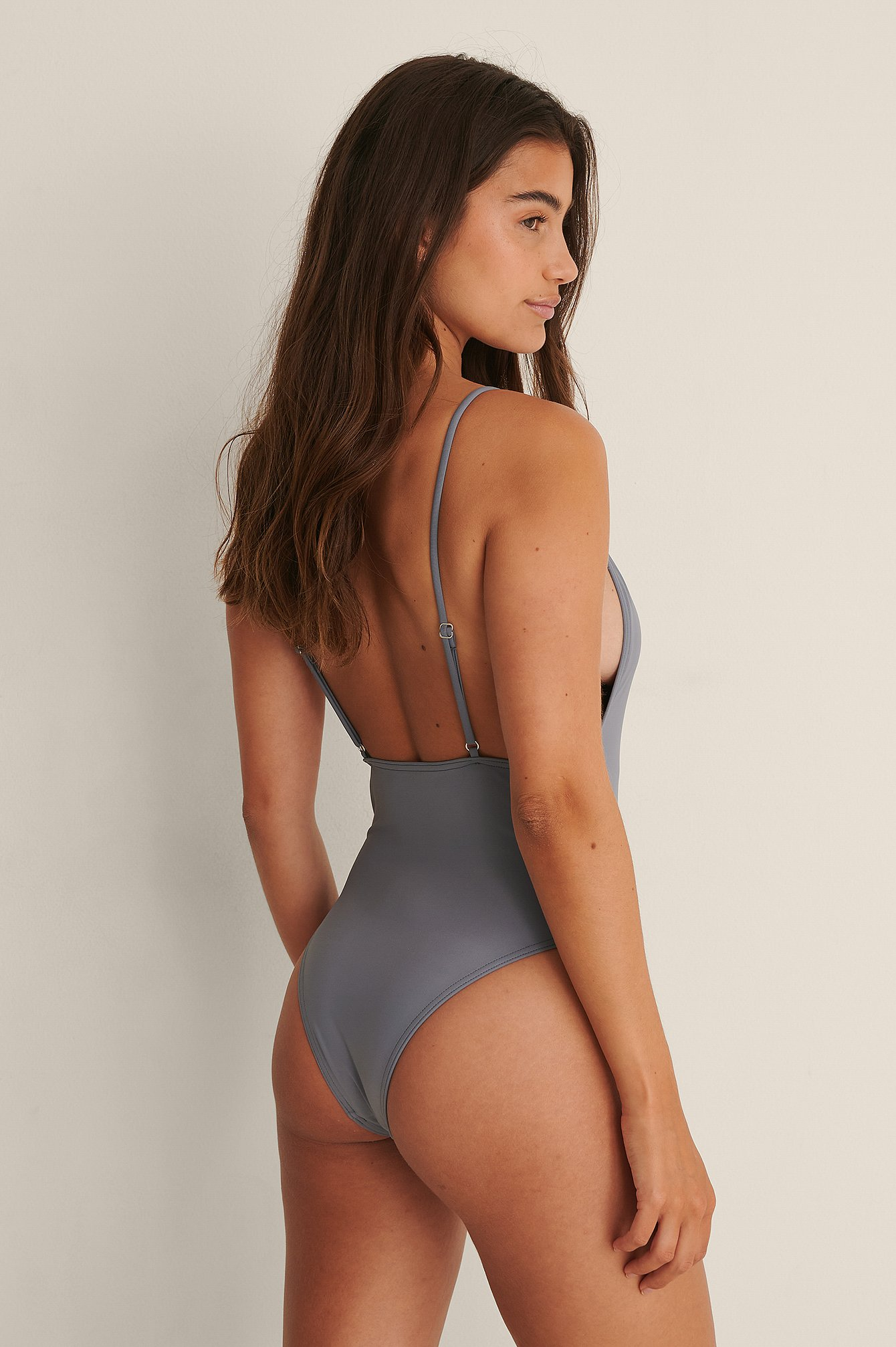 NA-KD Swimwear Badedragt Med Tynde Stropper Og Lav Ryg - Grey