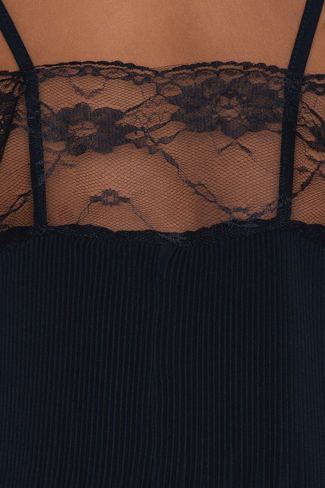 Thin Strap Pleated Top Black