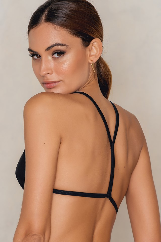 Thin strap Racerback Bikini Top Black