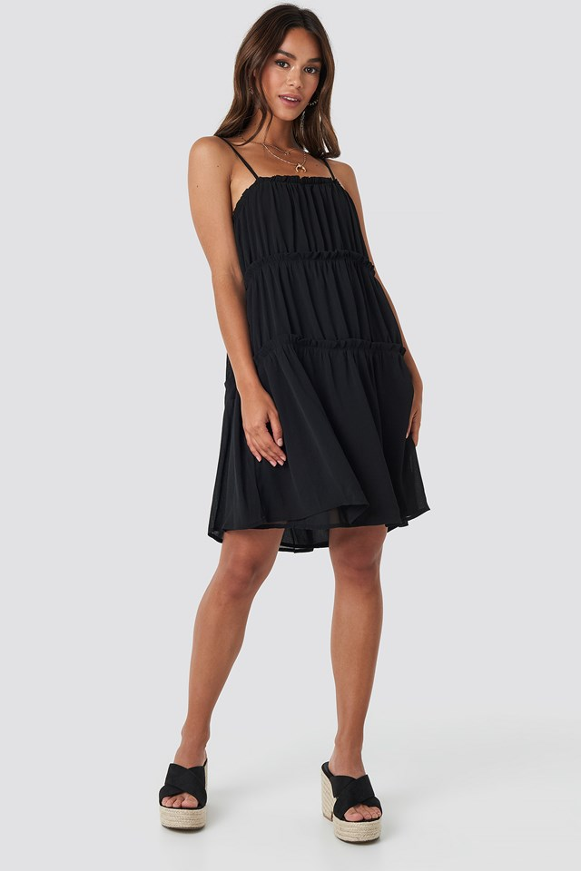 Thin Strap Tiered Mini Dress Black