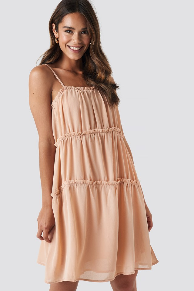 Thin Strap Tiered Mini Dress Dusty Pink