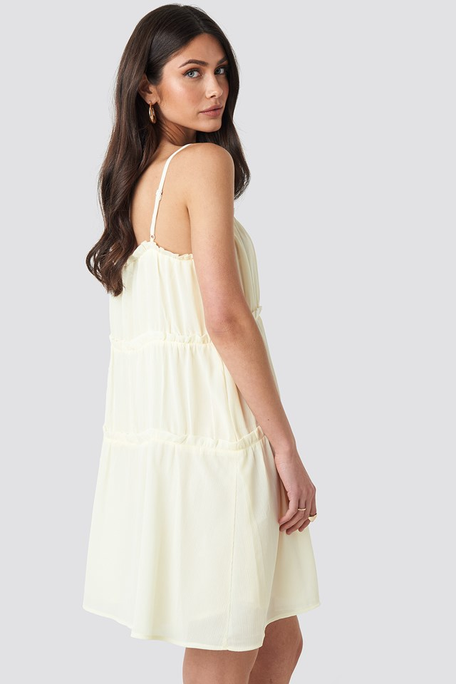 Thin Strap Tiered Mini Dress Cream