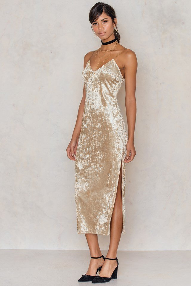 Thin Strap Velvet Dress Beige