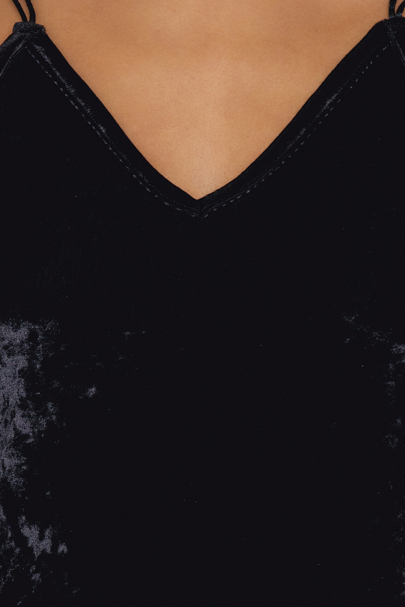 Black Thin Strap Velvet Top