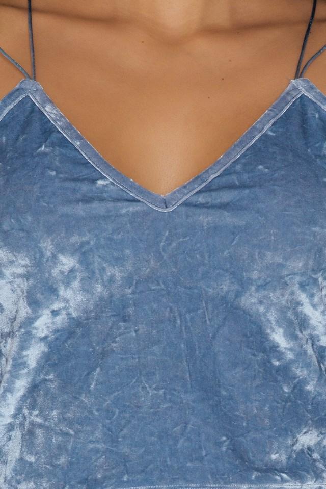 Thin Strap Velvet Top Dusty Blue