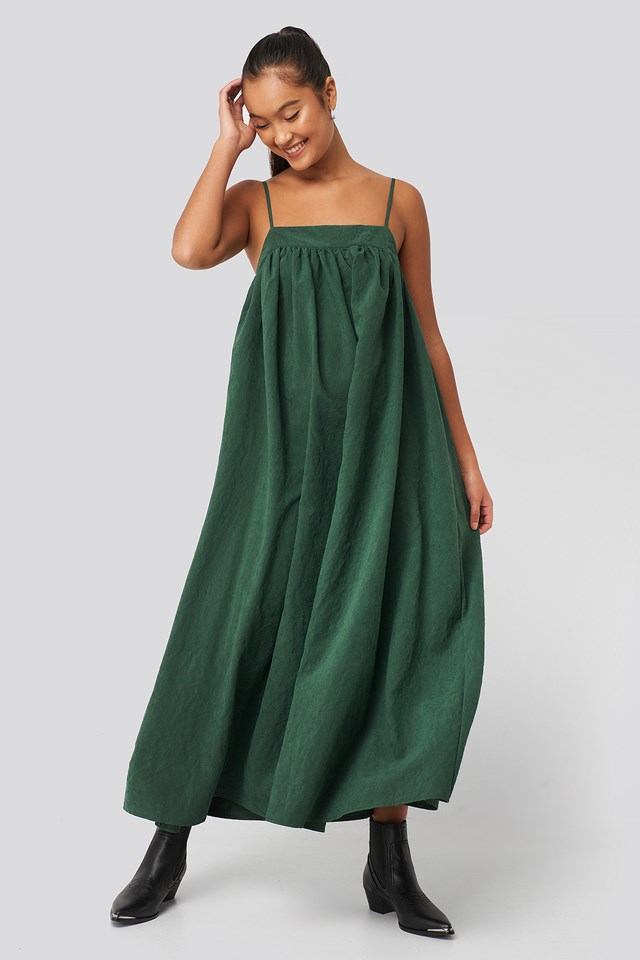 Thin Strap Volume Midi Dress Dark Green
