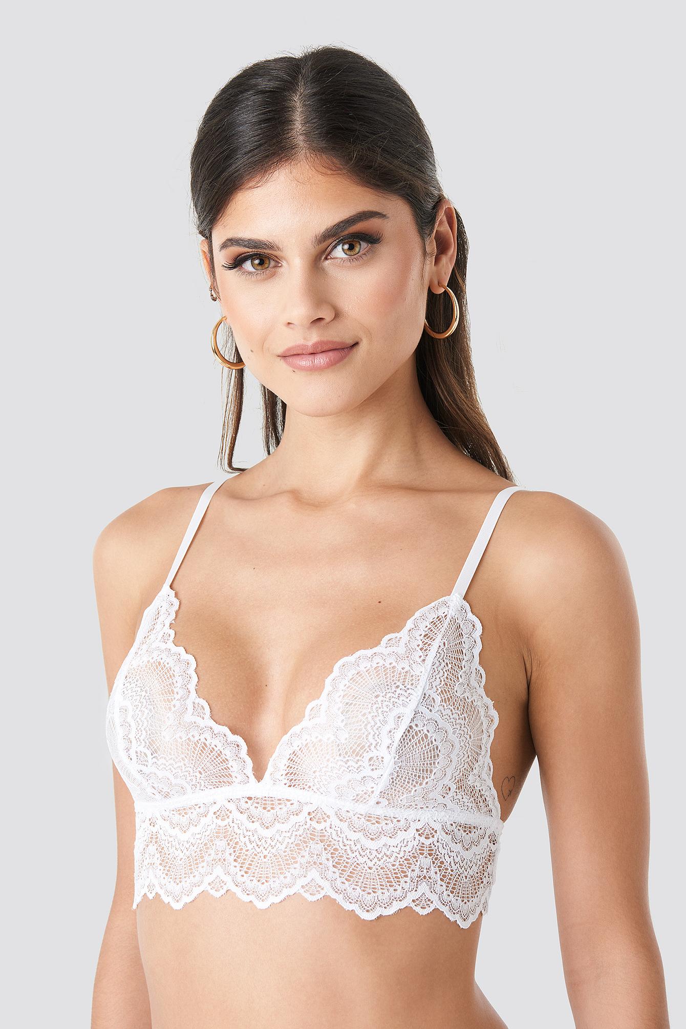 Thin Strap Wide Lace Bralette NA-KD.COM