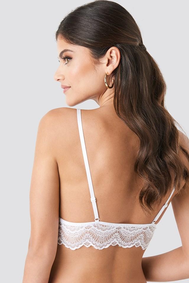 Thin Strap Wide Lace Bralette White