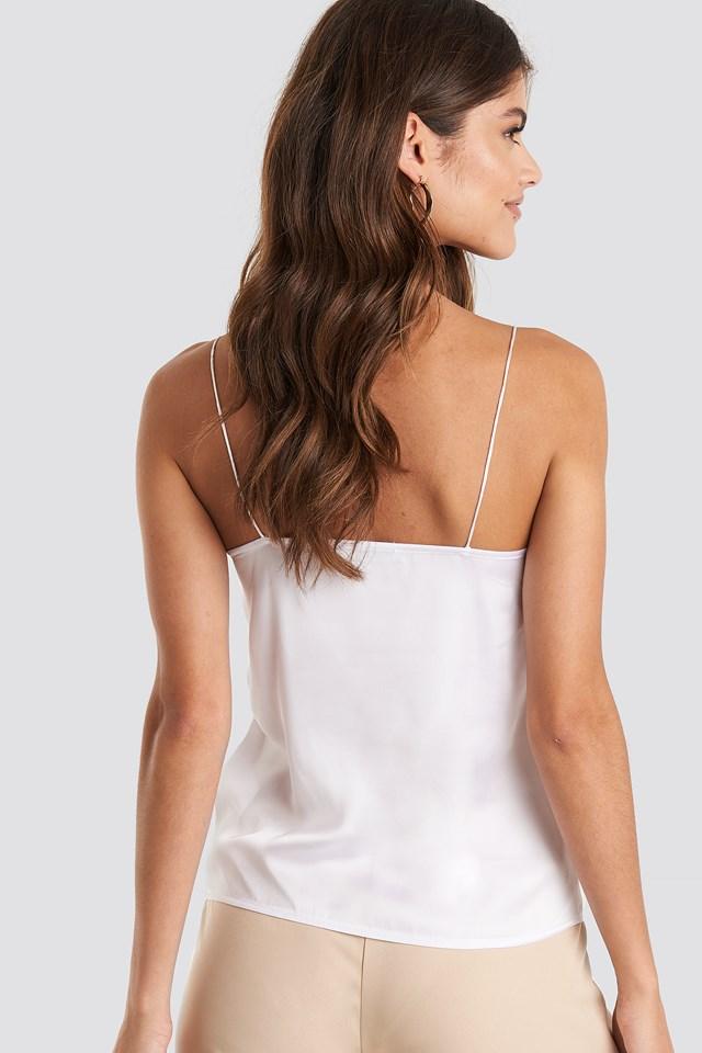Thin Strap Woven Singlet White