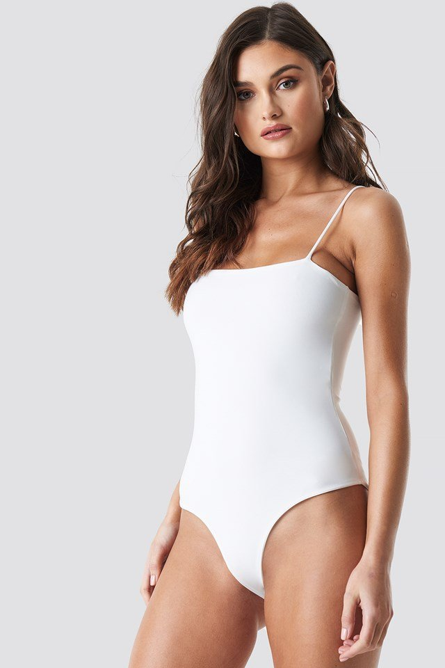 Thin Strap Bodysuit White