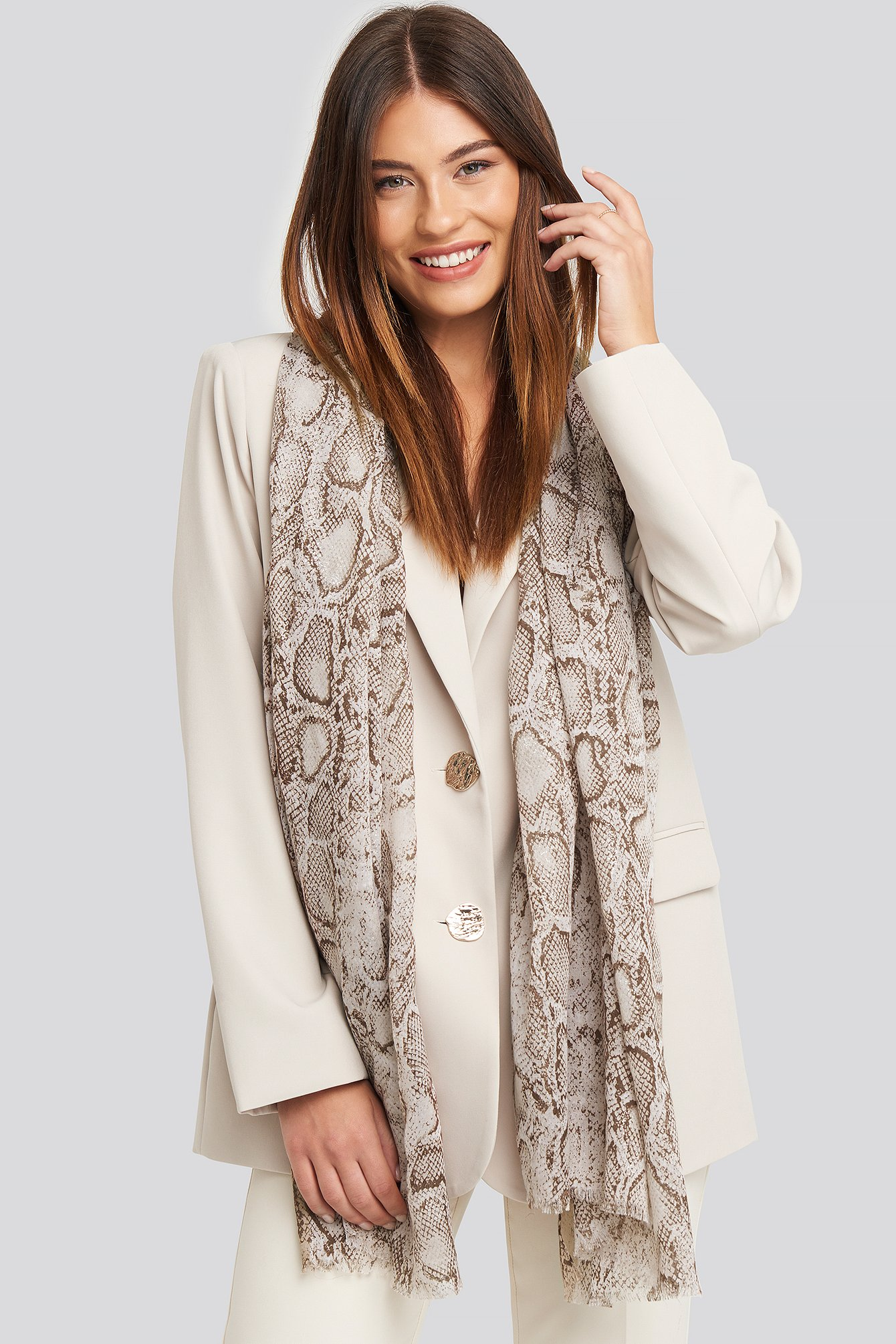 na-kd accessories -  Thin Woven Snake Scarf - Beige,Multicolor