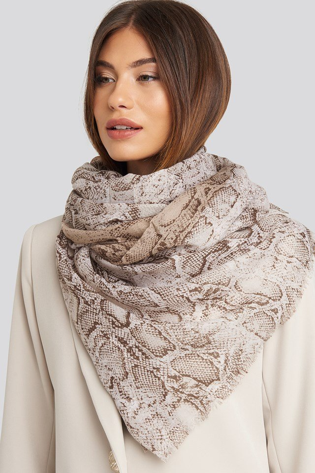 Thin Woven Snake Scarf Dusty Pink
