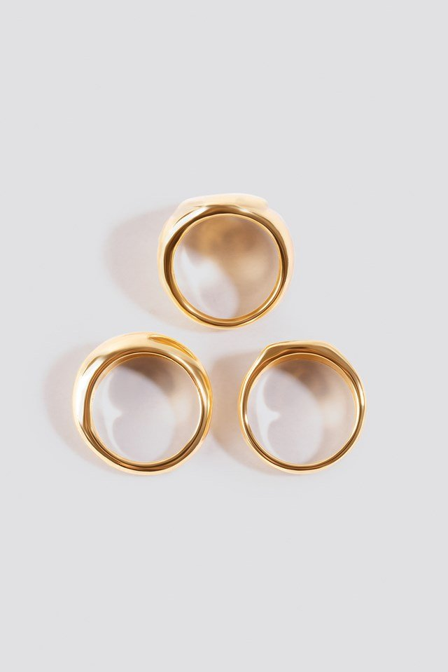 Three-Pack Chunky Signet Rings Gold