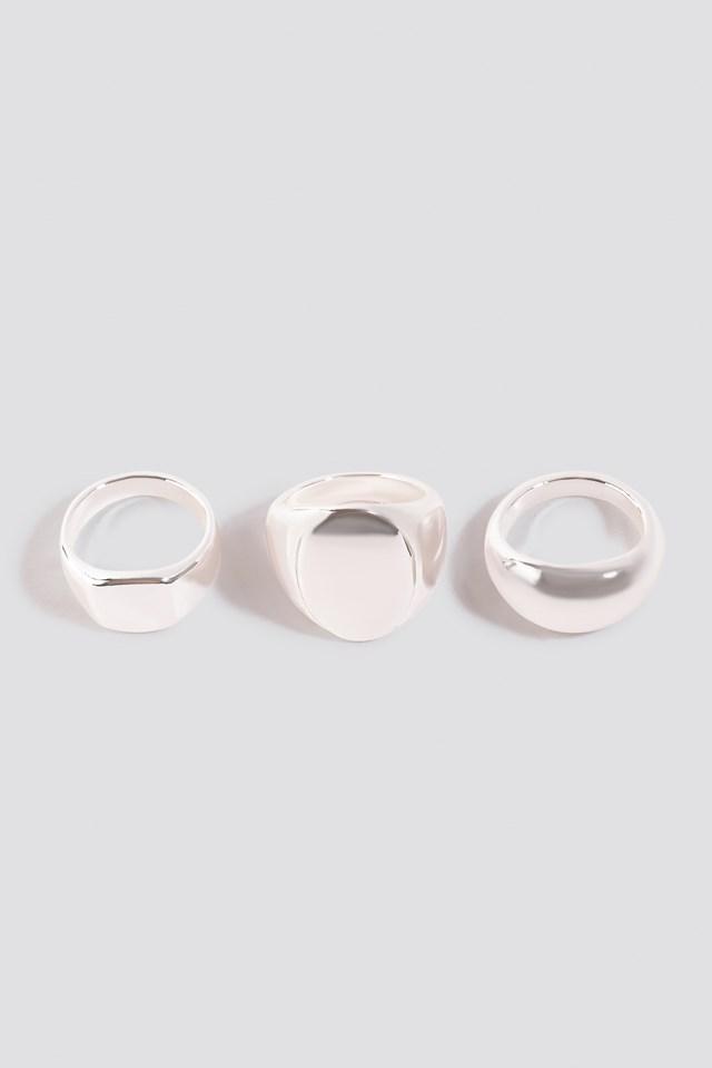 Three-Pack Chunky Signet Rings NA-KD.COM