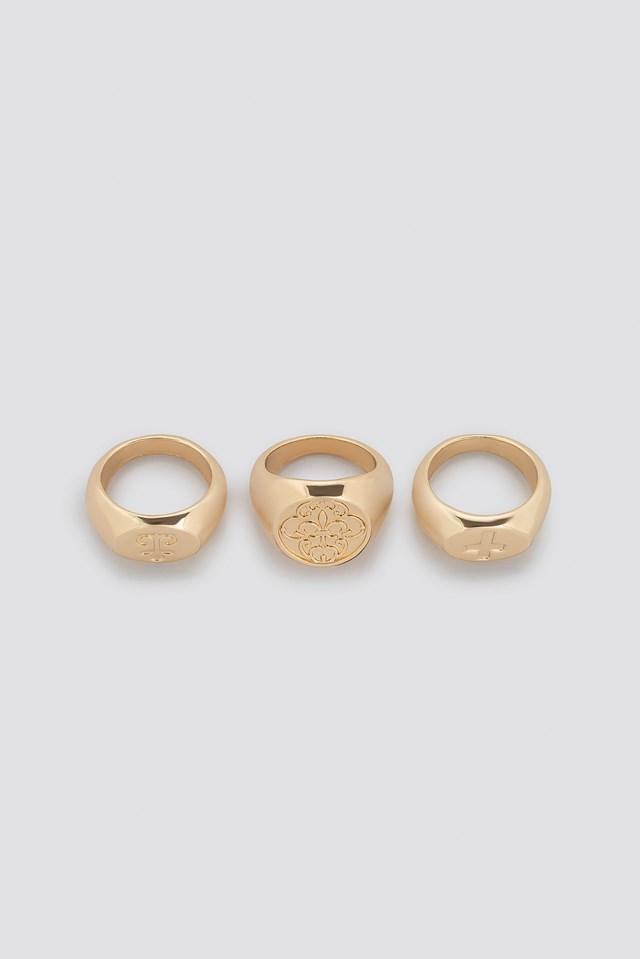Three Pack Chunky Signet Rings NA-KD.COM