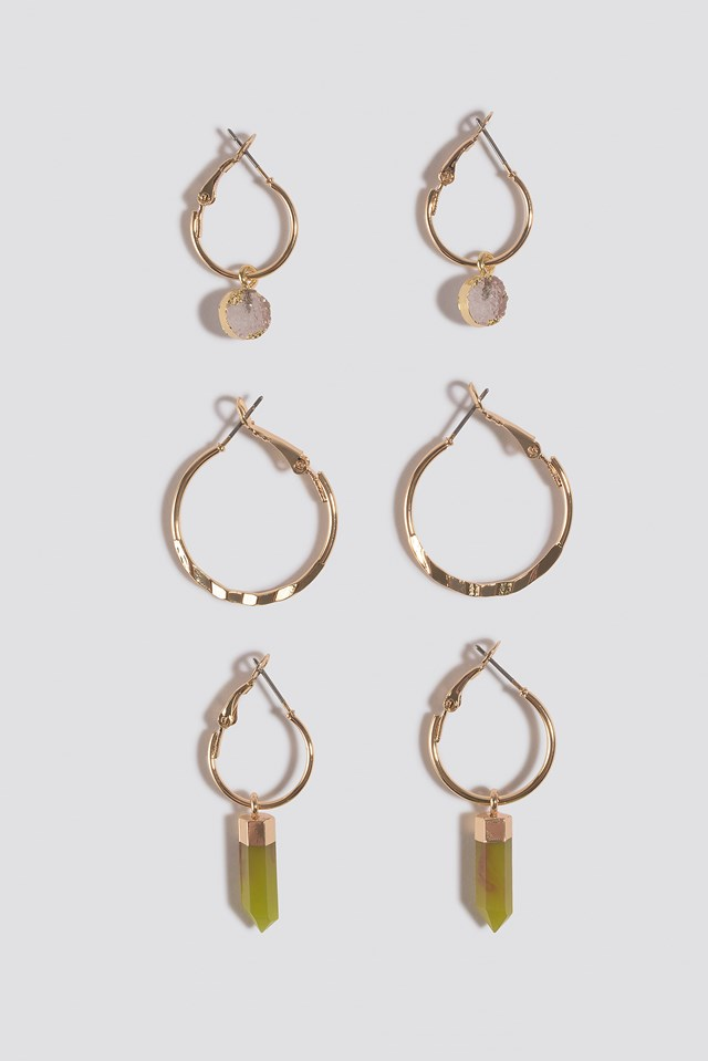 Three Pack Pendant Hoop Earrings Gold