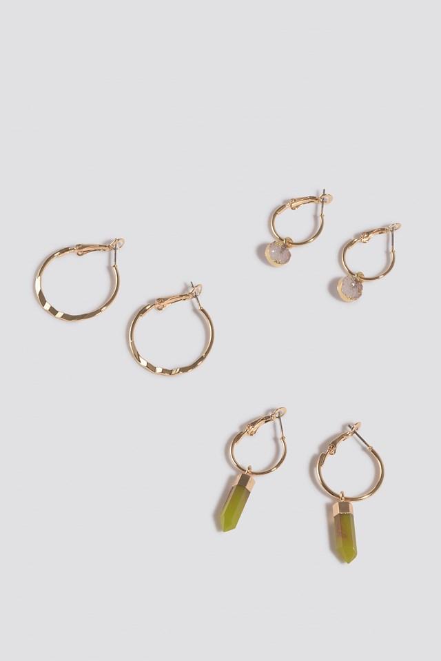 Three Pack Pendant Hoop Earrings Gold