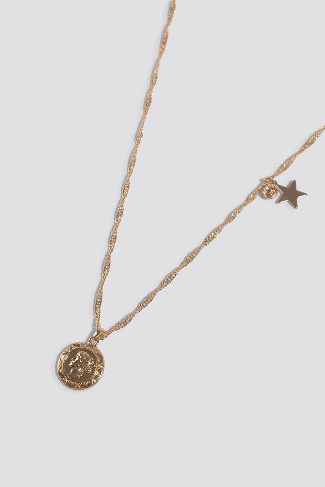 Three Pendants Necklace Gold