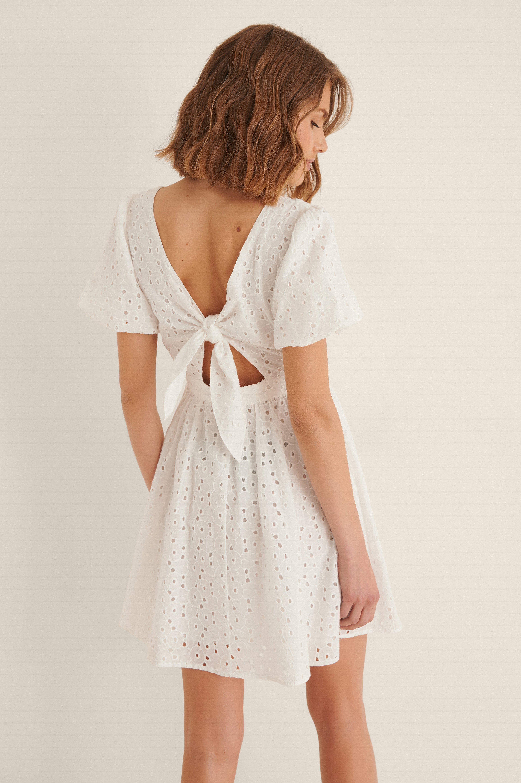 Na-kd Organic Tie Back Anglaise Mini Dress - White