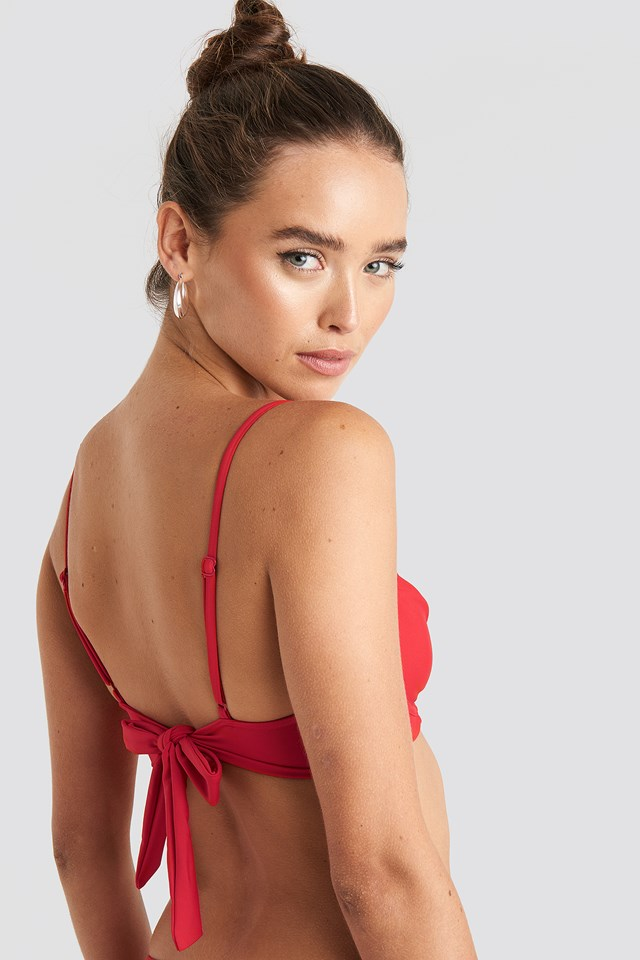 Tie Back Bikini Cup Bra Red