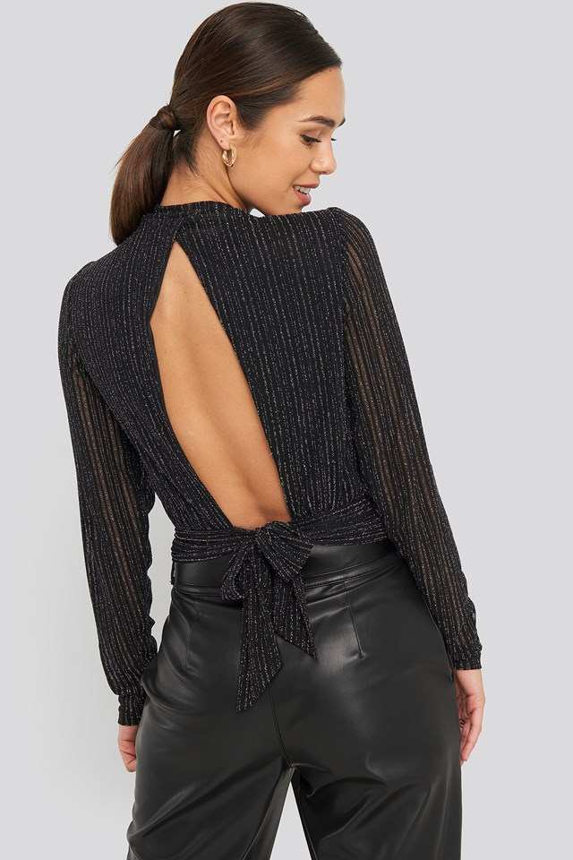 Tie Back Glittery Top Black