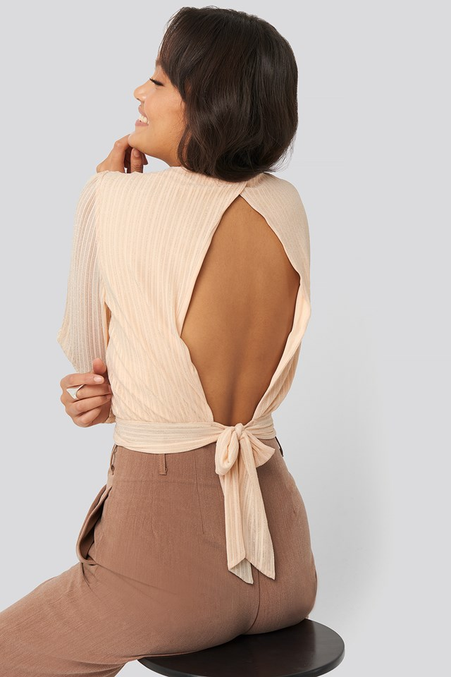 Tie Back Glittery Top Beige