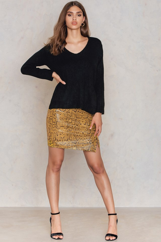 Tie Back Knitted Sweater Black