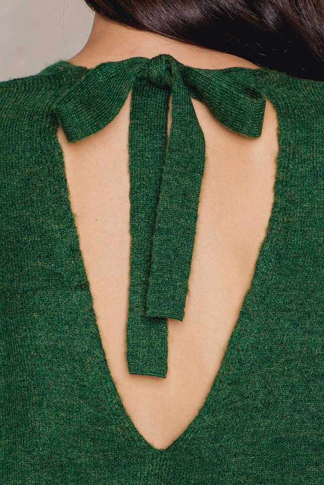 Tie Back Knitted Sweater Green