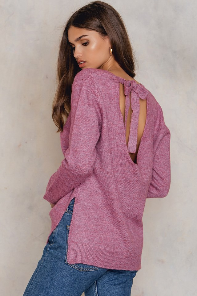Tie Back Knitted Sweater Dusty Pink