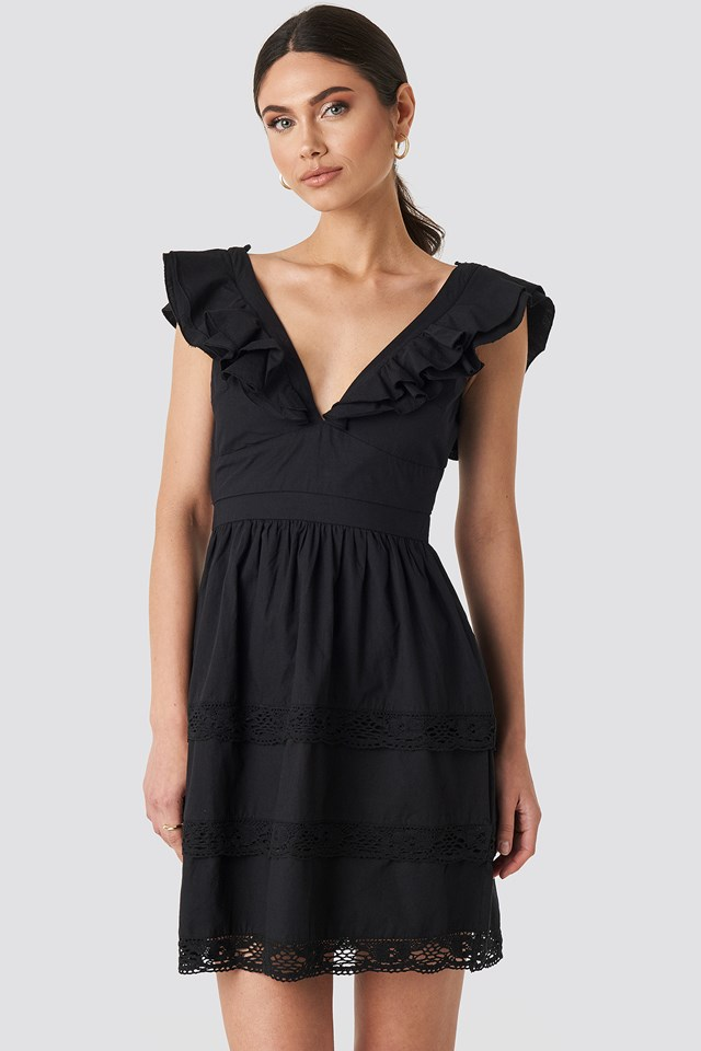 Tie Back Layered Flounce Dress Black