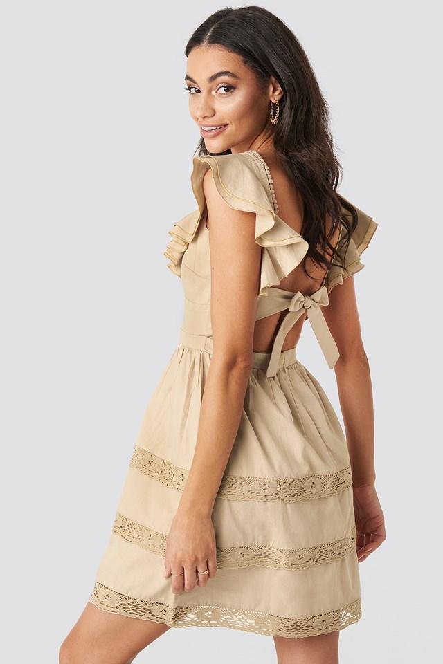 Tie Back Layered Flounce Dress Beige