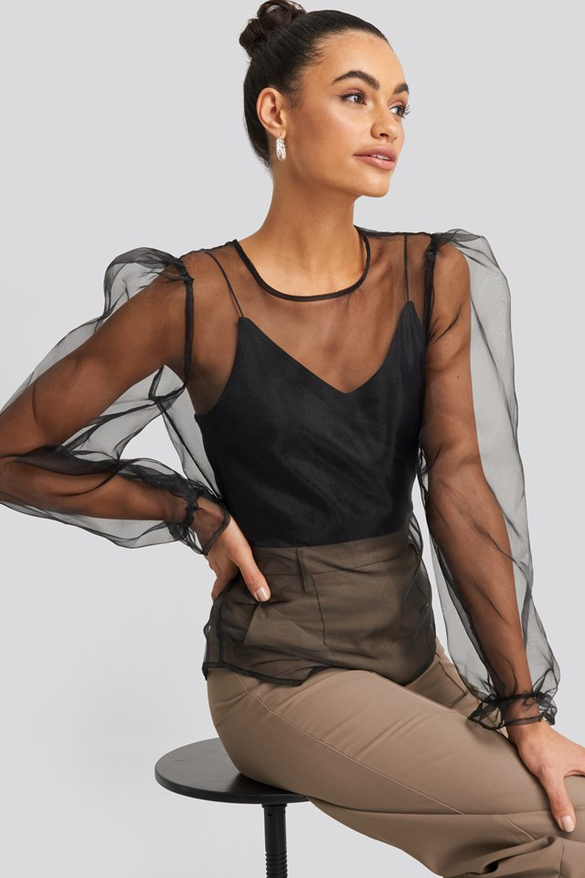 Tie Back Organza Blouse NA-KD Party