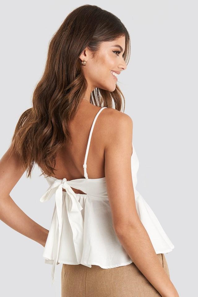Tie Back Singlet White