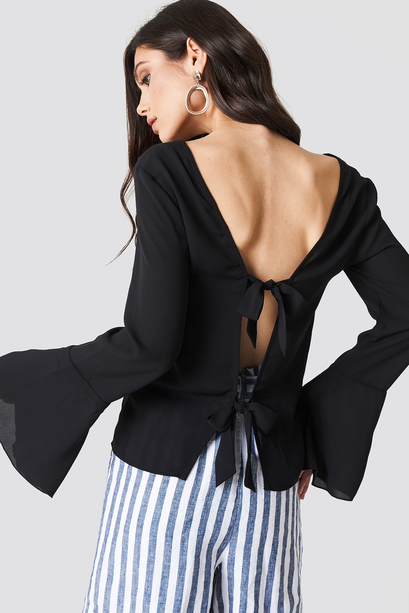 Tie Back Wide Sleeve Blouse NA-KD.COM