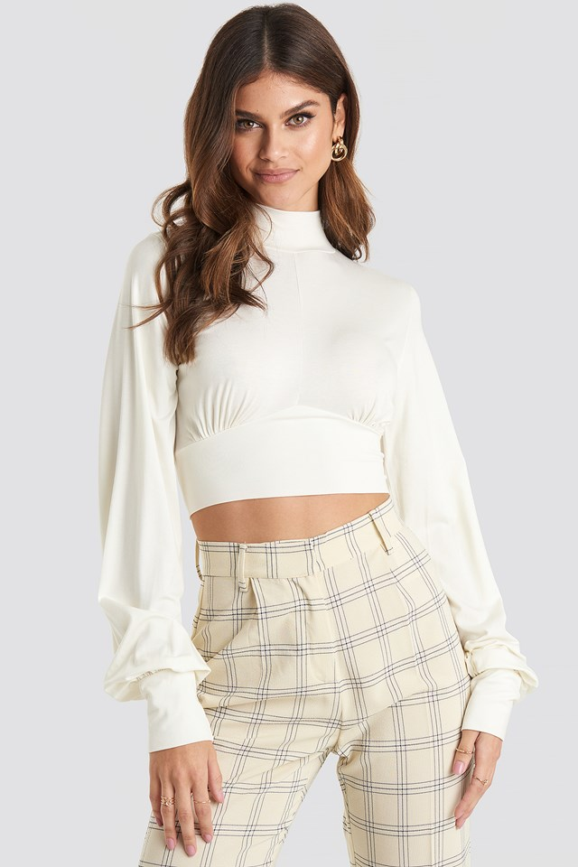 Tie Back Turtle Neck Top Off White