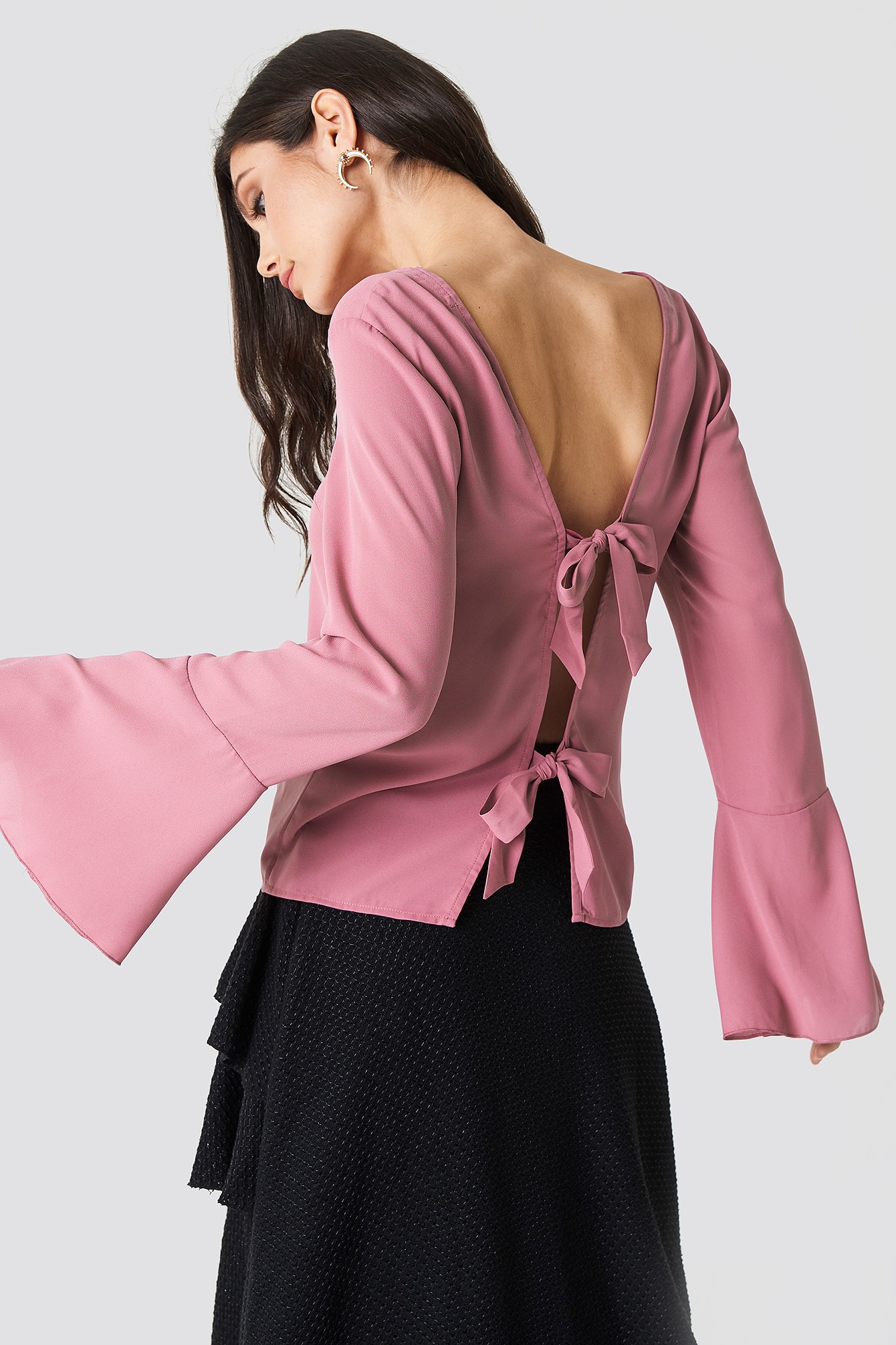 Tie Back Wide Sleeve Blouse NA-KD.COM