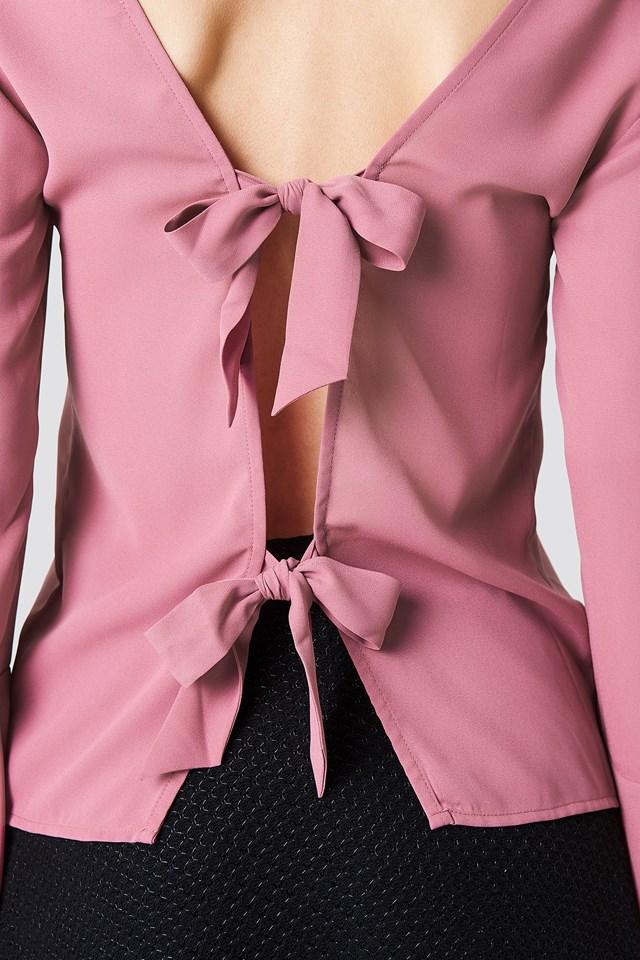 Tie Back Wide Sleeve Blouse Dark Dusty Pink