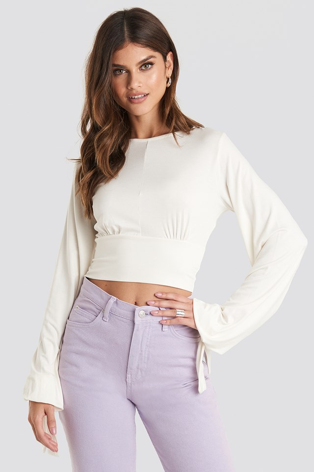 Tie Balloon Sleeve Top Off White