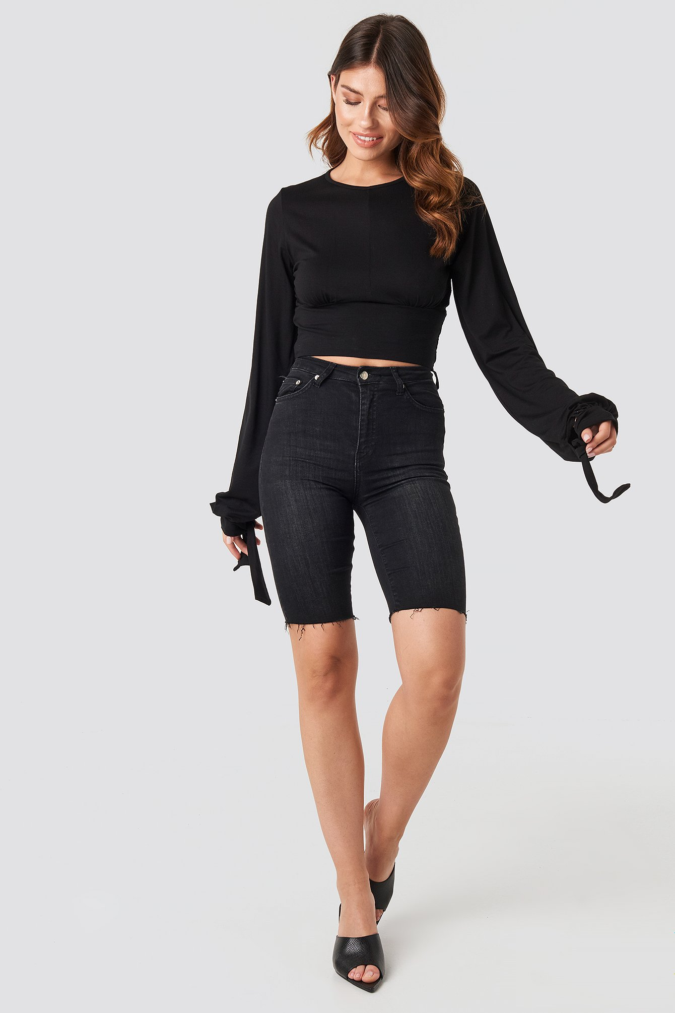 Deep Black Tie Balloon Sleeve Top