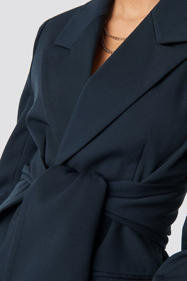 Tie Belt Blazer Midnight Blue
