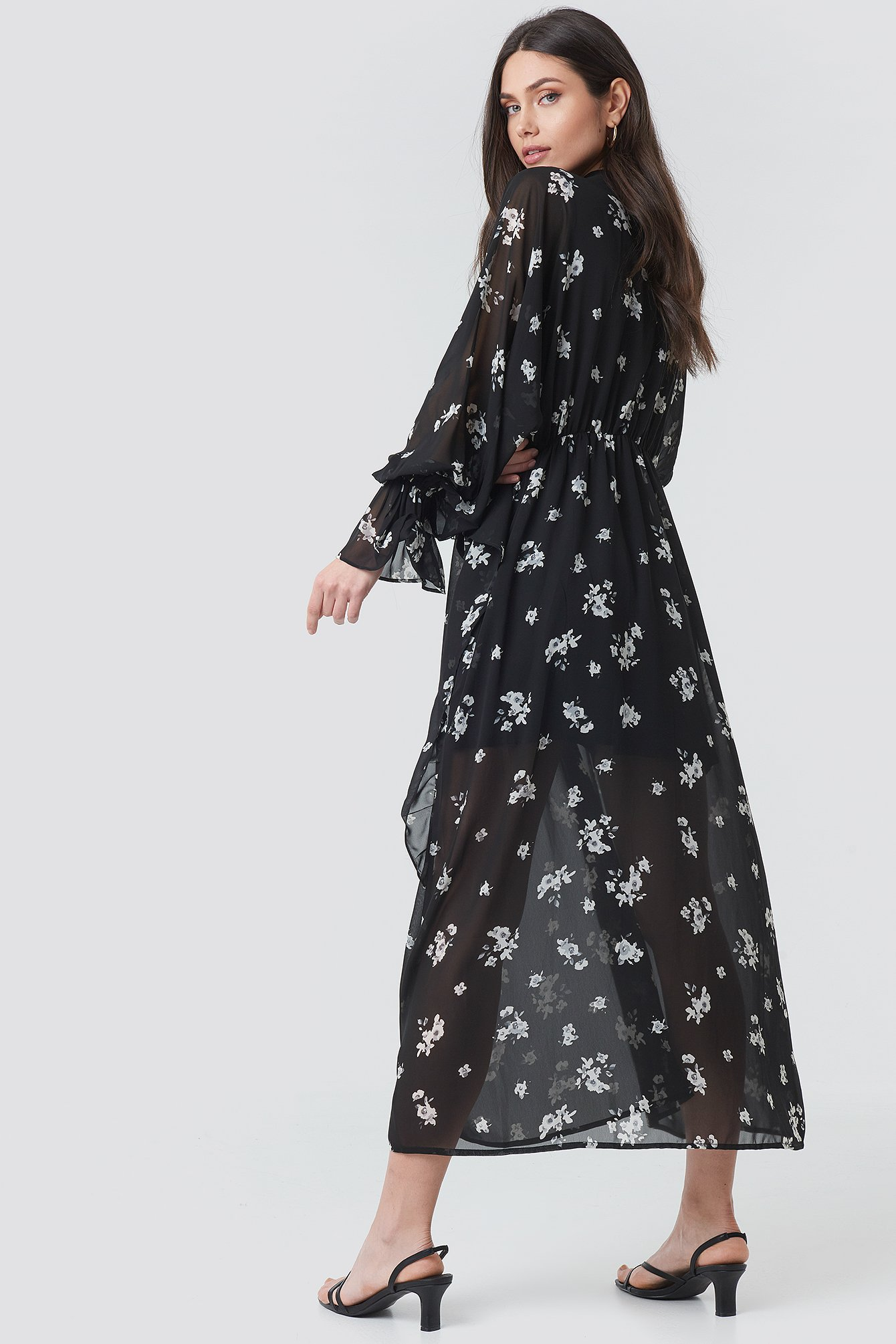 Tie Collar Printed Maxi Dress NA-KD.COM