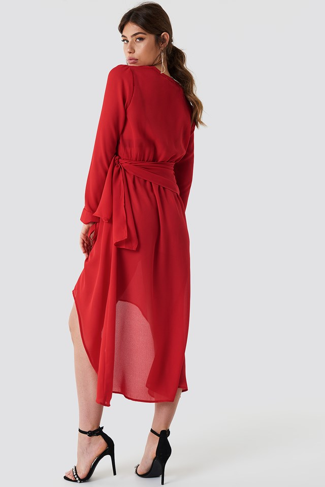 Tie Detail Asymmetric Dress Red