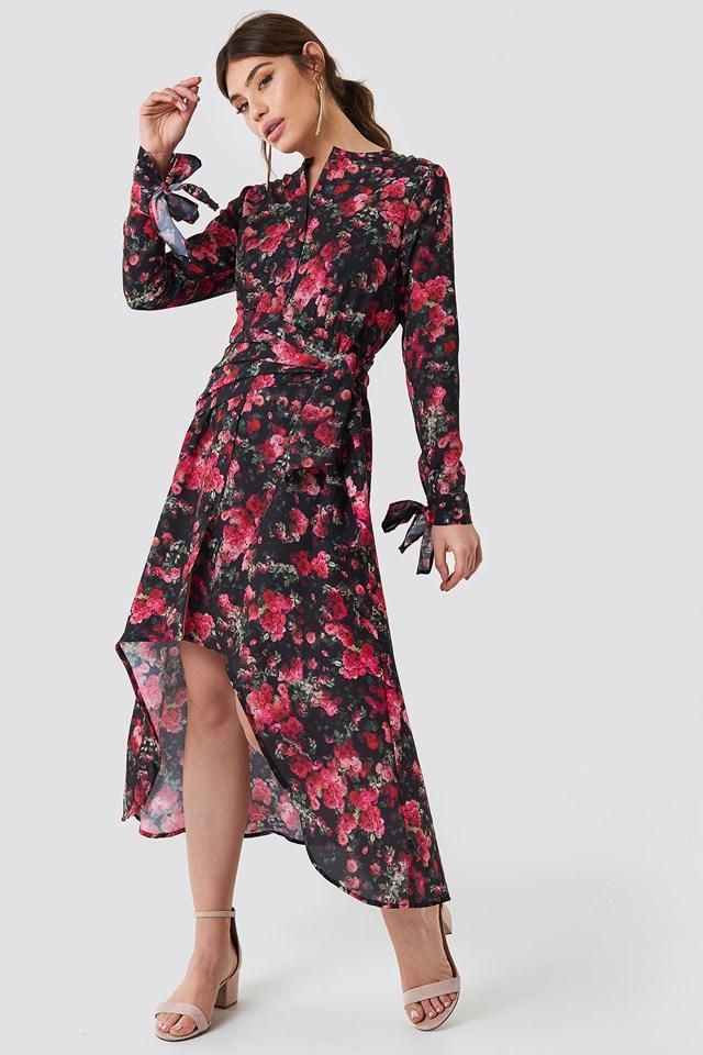 Tie Detail Asymmetric Dress Rose Bush Pattern