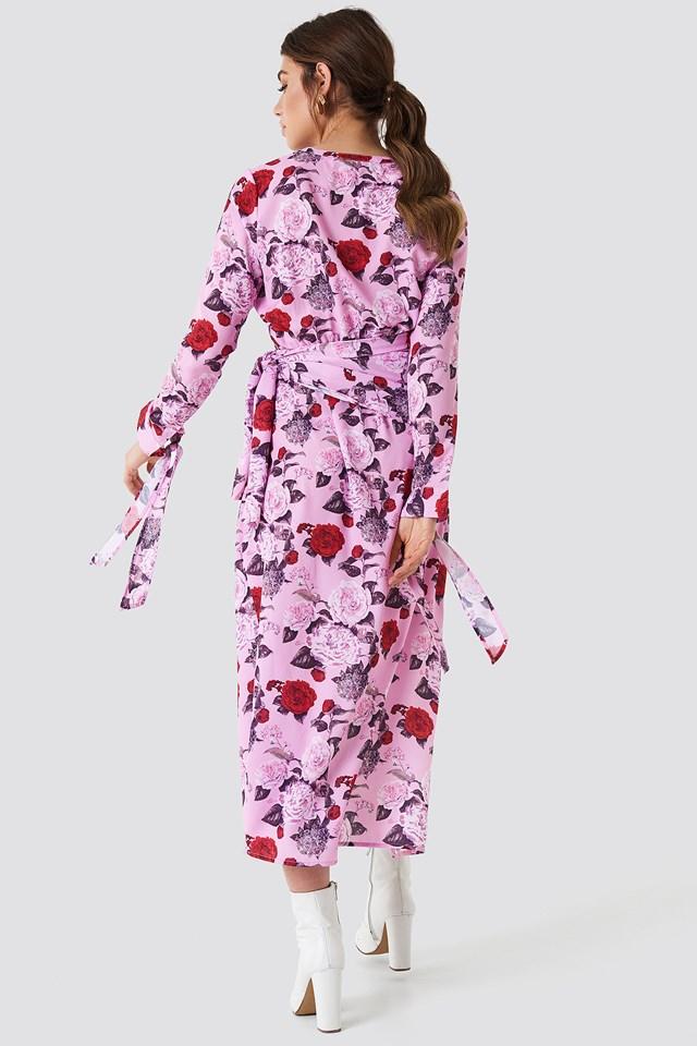 Tie Detail Asymmetric Dress Flower Pink Pattern