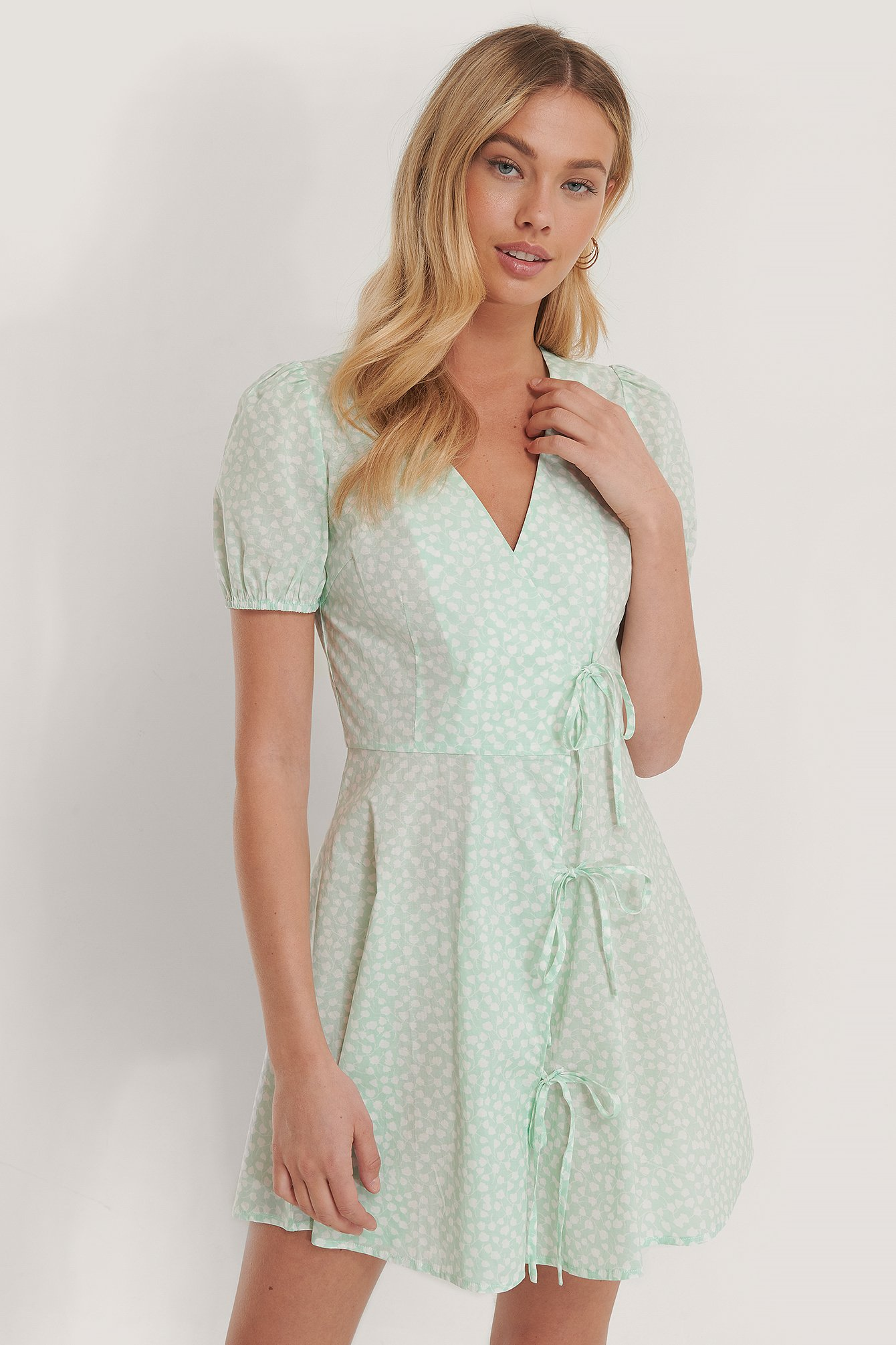 Green Print Tie Detail Mini Dress