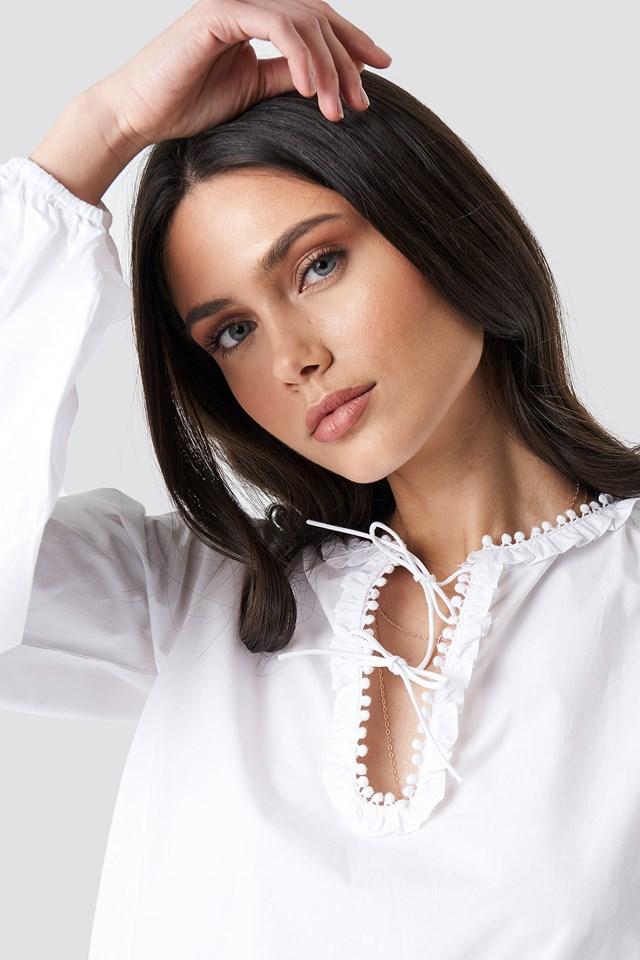 Tie Detail Neckline Blouse NA-KD.COM