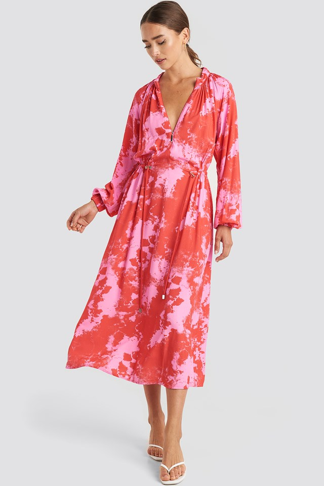 Tie Dye Balloon Sleeve Midi Dress Pink