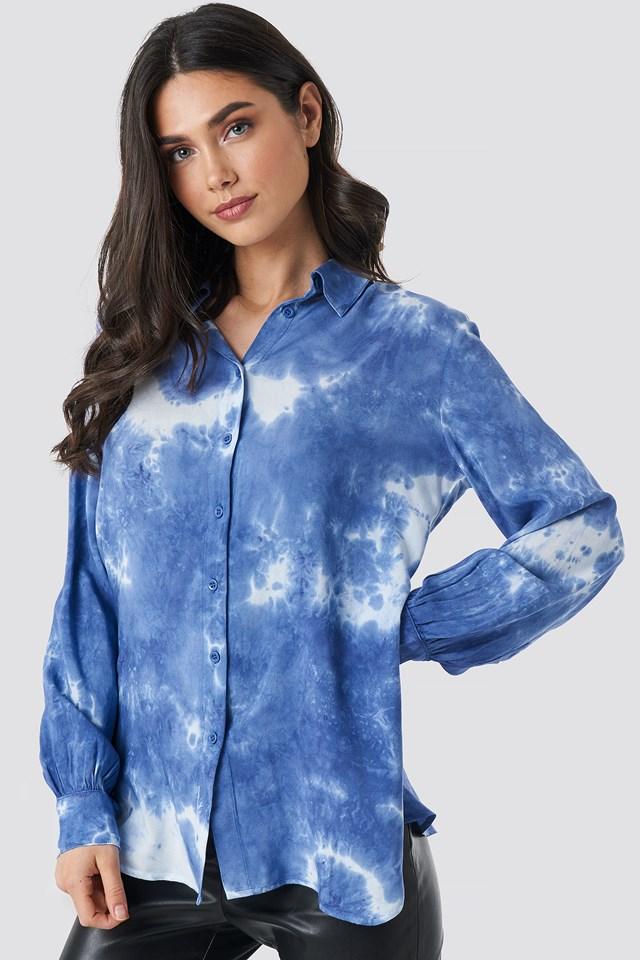 Tie Dye Button Up Shirt Blue