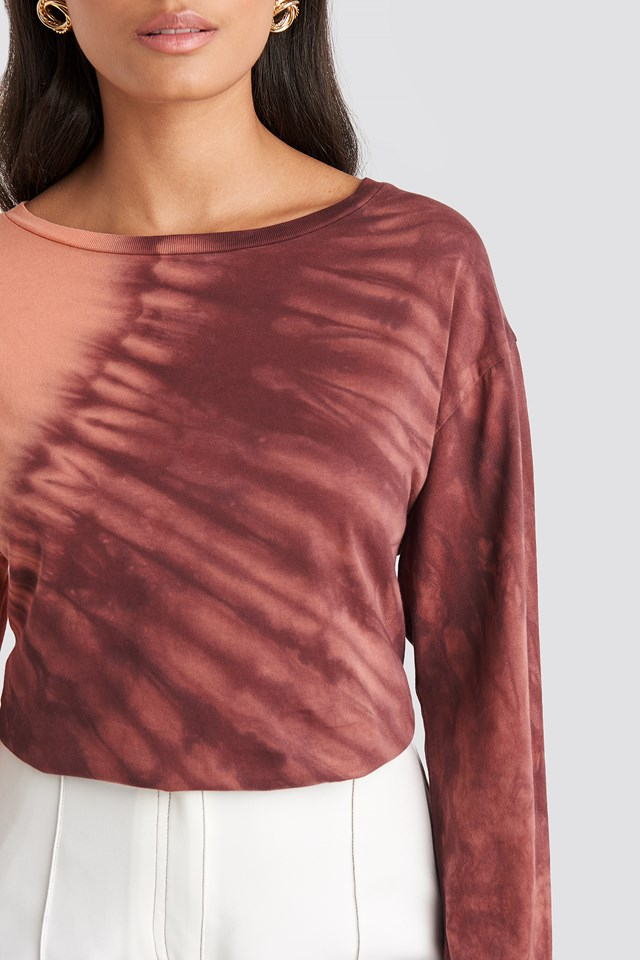 Tie Dye Long Sleeve T-shirt Red
