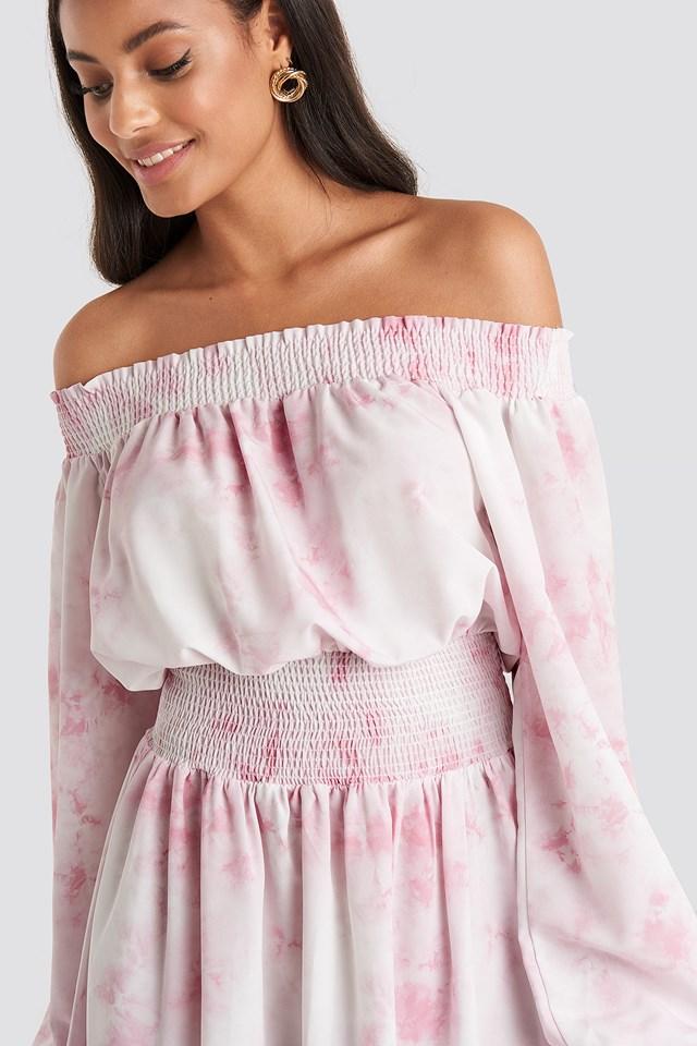 Tie Dye Off Shoulder Midi Dress Beige